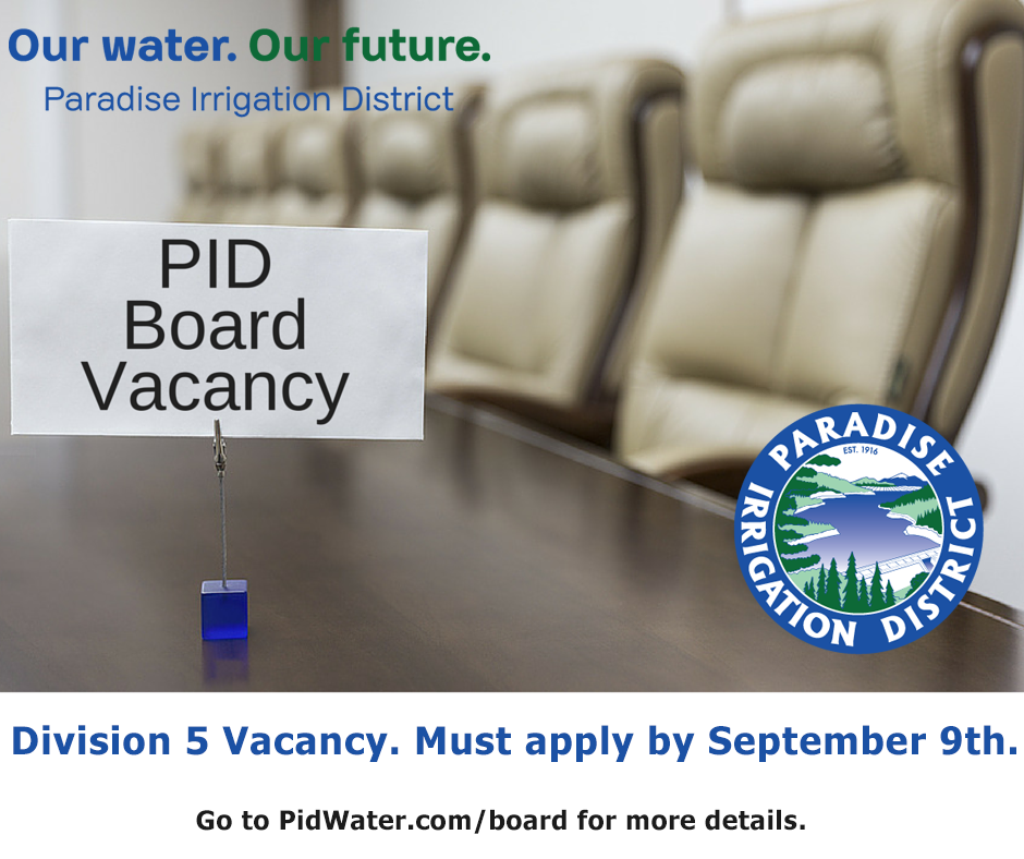 Board Vacancy - Paradise Irrigation District